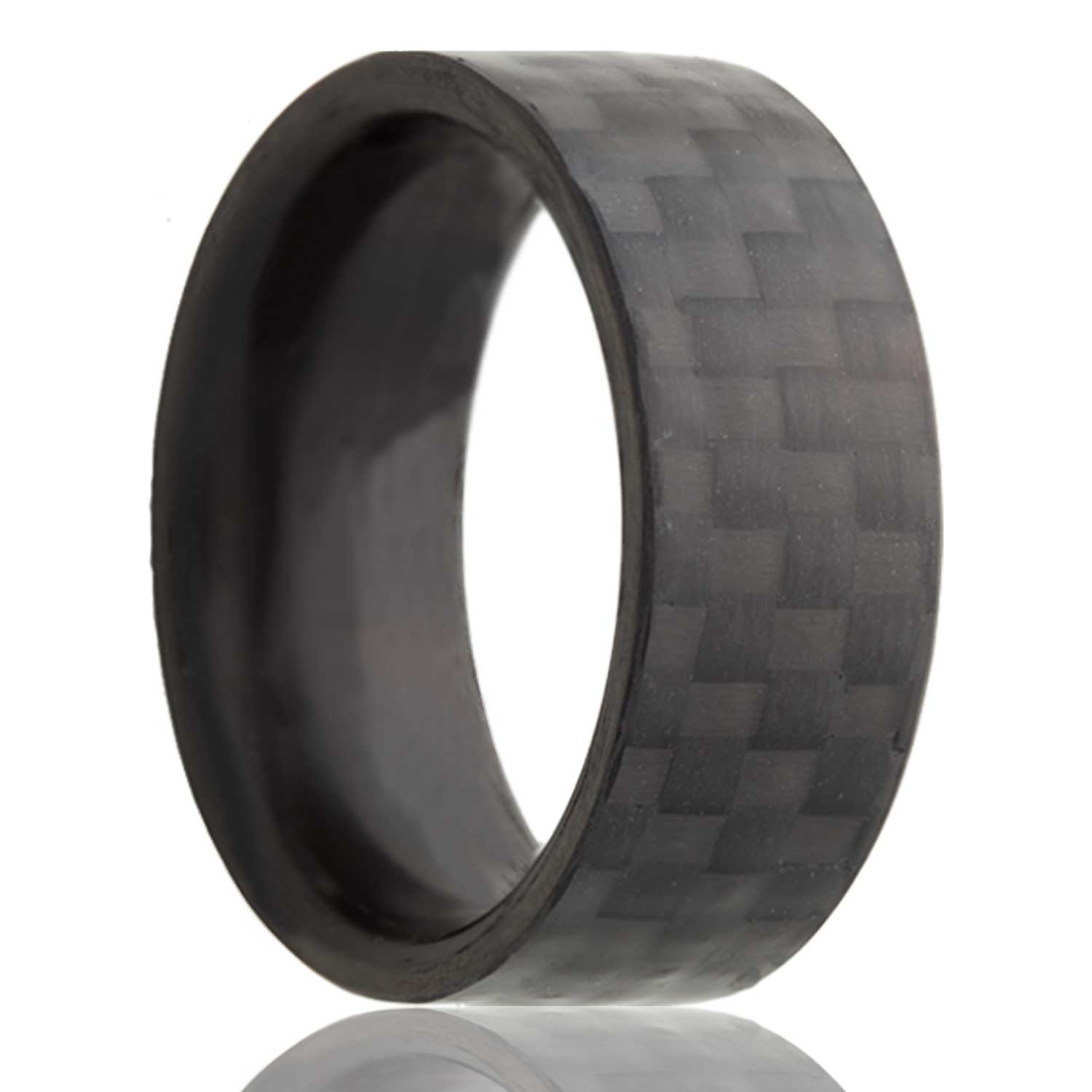 Heavy Stone Rings - Carbon_Fiber.jpg - brand name designer jewelry in Ripon, Wisconsin